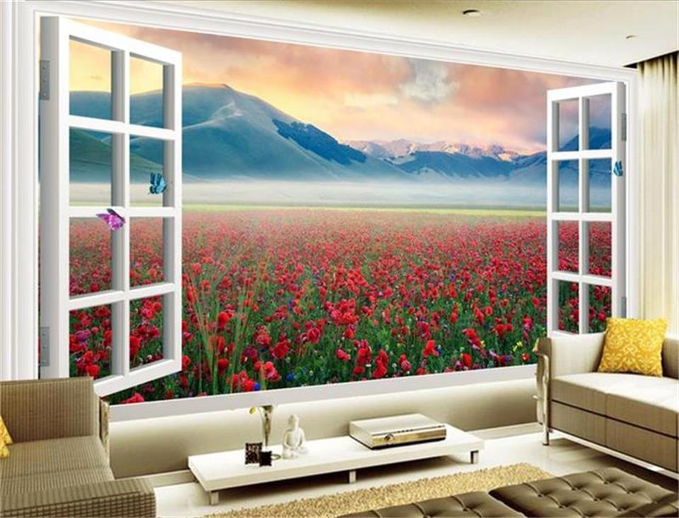 где купить Custom size wallpaper 3d photo wallpaper living room mural flowers 3d window out view painting sofa TV background wall sticker по лучшей цене