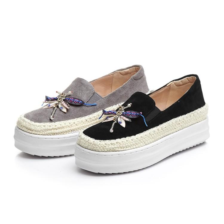 Big Size Women Platform Loafers Crystal Genuine Leather High Quality Pointed Toe Flats Shoes For Women Slipony Women Rhinestone  (7)