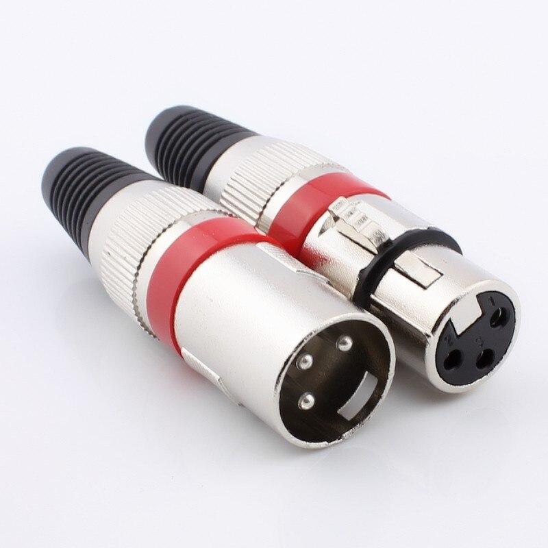 Vermelho Mic Microfone XLR 3 Pinos Macho e fêmea jack ficha de Áudio Cabo Conector de Solda