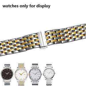 Image 4 - PEIYI качественный ремешок для часов из нержавеющей стали, 20 мм, серебристый и розовое золото, металлический браслет, сменная цепочка для часов tisto T063