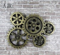Retro Wooden Gear Wall Deco Industrial Wind Clocks Walls Hanging Bar Living Room Loft Wall Decor Pendant sets