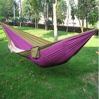Free Shipping Outdoor Double Hammock Camping Survival Parachute Cloth Dormitory Bedroom Canopy Swing Hammock 260 140cm