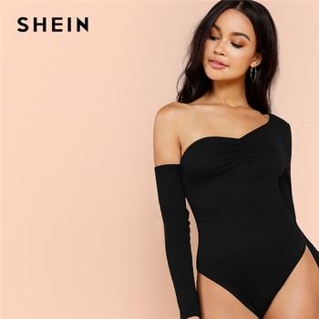SHEIN Black Highstreet Sexy One Shoulder Solid Asymmetrical Neck Mid Waist Skinny Solid Bodysuit Summer Women Casual Bodysuits