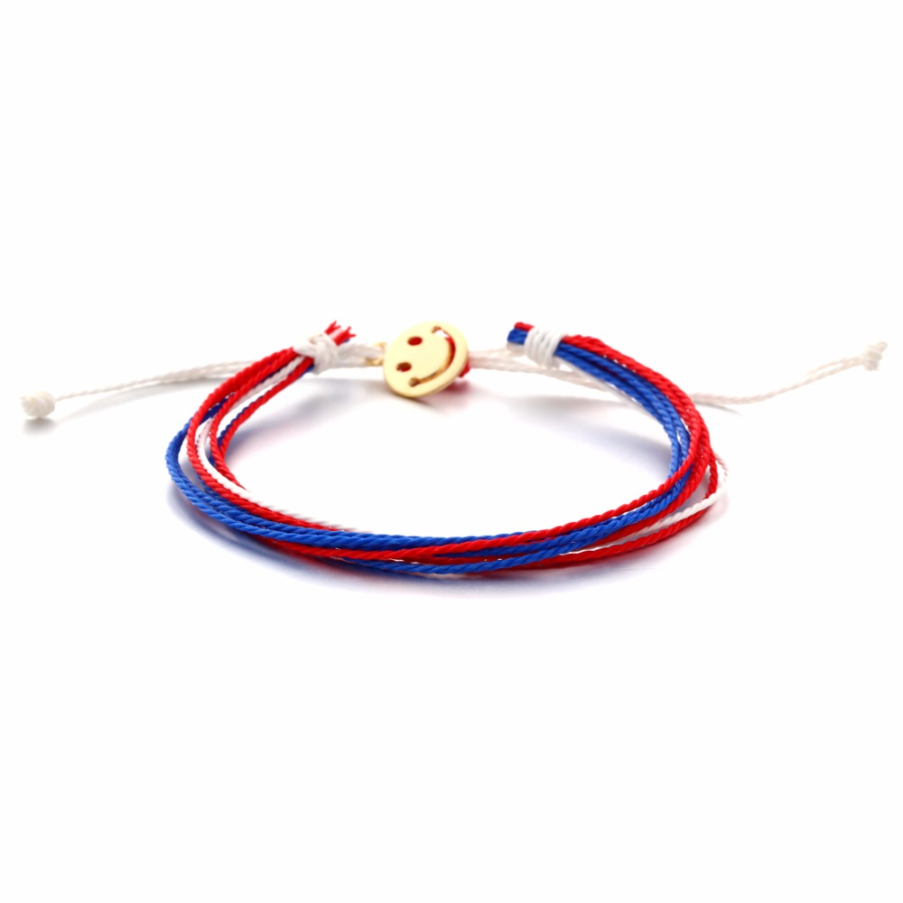 Hot New Handmade Wristband Braided Wax Cords Smiley Face Cion Pendant Leather Charms bracelets & Bangles men Jewelry Gift
