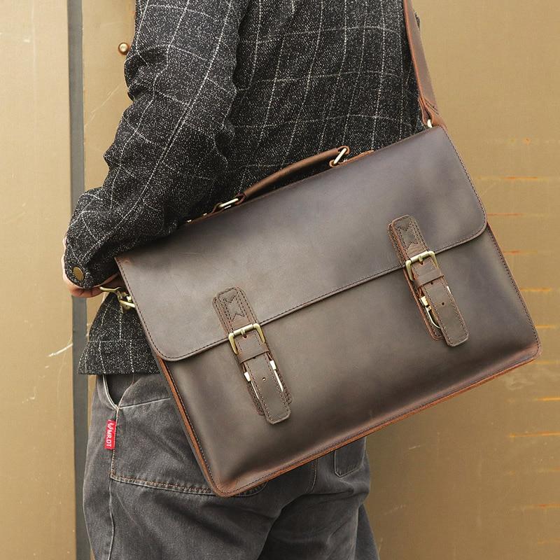 Nesitu, высокое качество, винтажный коричневый, толстый, натуральная, Crazy Horse, кожа, 14 дюймов, для ноутбука, мужской портфель, портфель, мужская сумка, M7223 - 2