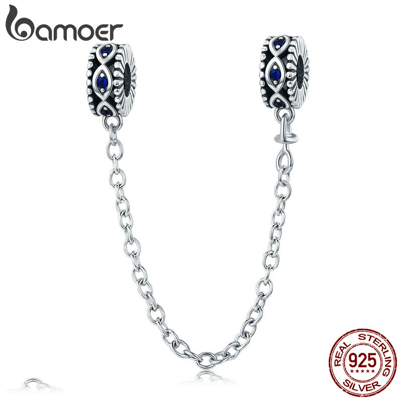 BAMOER 100% 925 Sterling Silver Guardian Blue Eyes Blue CZ Safety Chain Stopper Charm fit Bracelet Bangles DIY Jewelry SCC617
