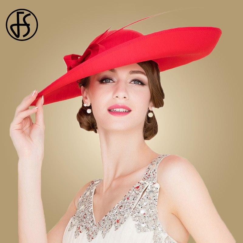 Sombreros de boda de las señoras Rojas reales de FS sombreros de las mujeres negras grandes del ala grande del sombrero de fiesta de la iglesia del Derby de Kentucky - 4