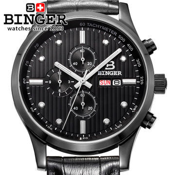Binger New 100M Waterproof Quartz watches Men Sports wristwatch Dual Time Hours Army Military Quartz Stop Watch Stainless Steel weide new men quartz casual watch army military sports watch waterproof back light men watches alarm clock multiple time zone
