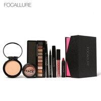 FOCALLURE 8Pcs Cosmetics Makeup Set Powder Eye Makeup Eyebrow Pencil Volume Mascara Sexy Lipstick Blusher Tool