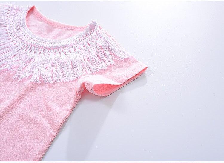 CN Zomer Babymeisje Rompertjes Kwastje Roze Dames baby Jumpsuit 0-2 - Babykleding - Foto 5