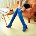 Elegante 2015 nueva caliente dedo del pie redondo mujeres del bloque de tacón alto damas sobre la rodilla botas Faux Suede muslo zapatos altos más tamaño