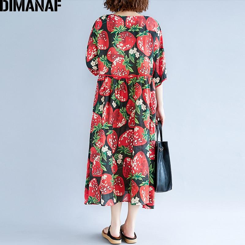 DIMANAF Women Summer Dress Plus Size Sundress Large Clothing Cotton Female  Beach Vestidos Print Elegant Lady Casual Loose Dress