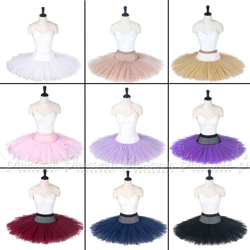 8 Layer Stiff Tulle Pancake Ballet Tutu Skirts Adjustable Adult Practice Platter Pleated Firm Tulle Ballet