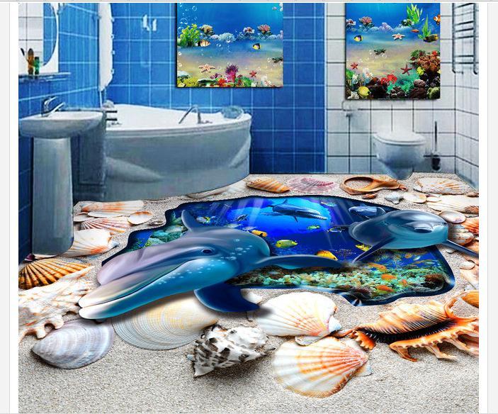 Free shipping custom mural 3d PVC Floor painting wallpaper 3D floor of the marine dolphin bathroom beauty wall heme decoration