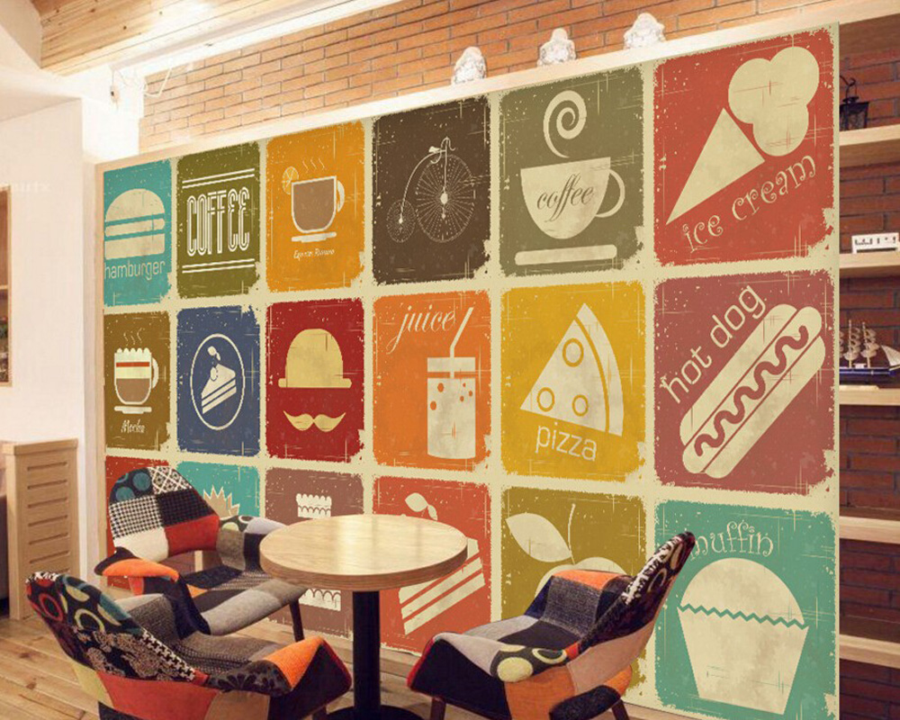 Custom retro wallpaper,Retro coffee dessert,3D photo mural for Cafe Restaurant Hotel background wall PVC papel de parede custom photo wallpaper large mural retro old newspaper english letter bar hot pot restaurant background wall wallpaper mural