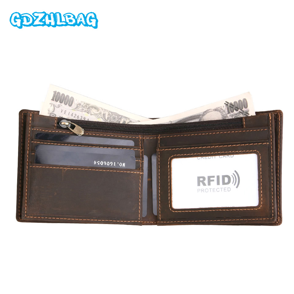 GDZHLBAG 2017 New Men Genuine Leather Vintage With Money Bag Portomonee Coin Purse Card Case Rfid Walet Card Purse B179
