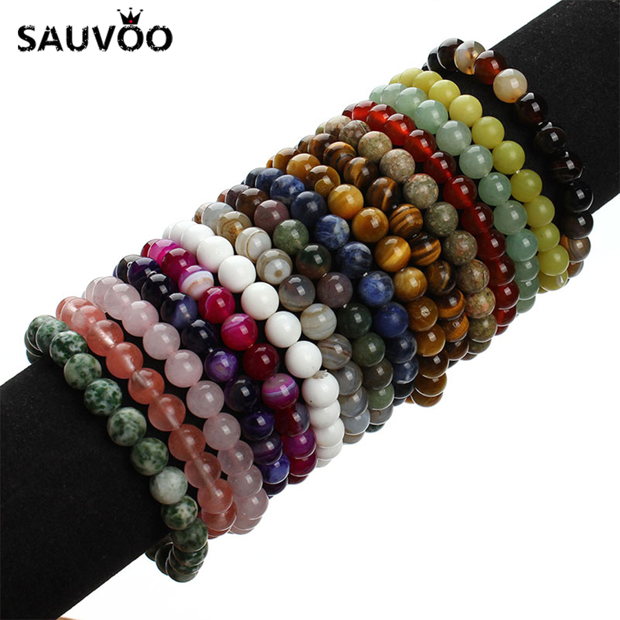 2018 New Summer Style Natural Stone Beads Bracciale Donna Uomo Rosa Blu Bianco Giallo Rosso Beaded Stretch Bracciali Bangles F2852