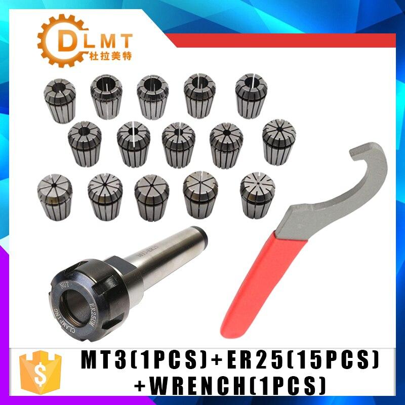 15 Pc ER25 Collet herramienta + MT3 ER25 Collet Chuck titular fija 1 Pc y 1 Pc ER25 llave forma fresadora CNC de herramienta de torno MT2 MT4 Venta caliente