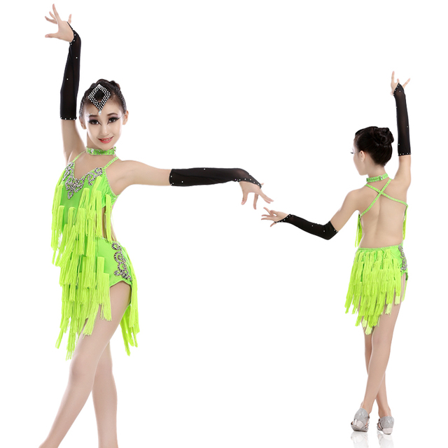 fbba7787f Profesional niños vestido de Danza Latina Cha Rumba Samba Tango traje niños