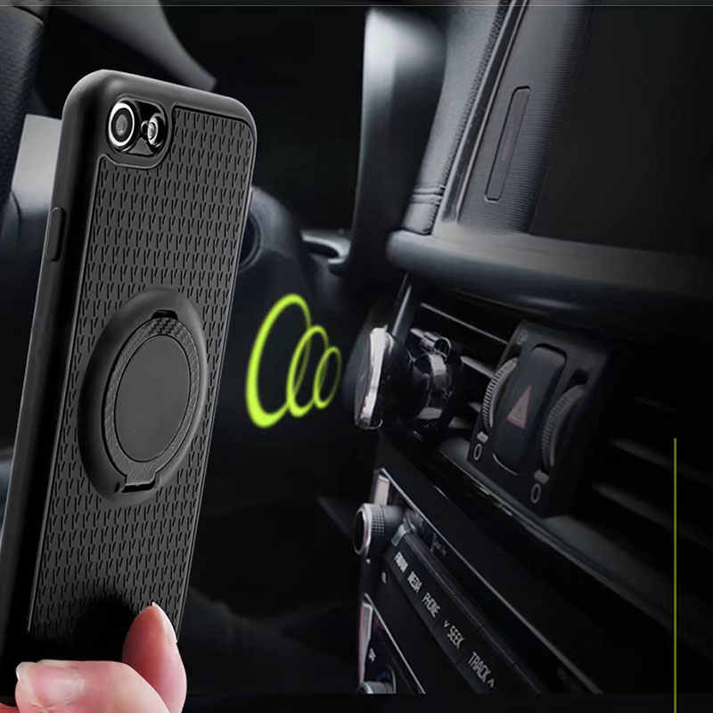Silincone coque case for iPhone X 7 6 6s 5 5s 8 se Soft TPU Matte case cover with Luxury Carbon Fiber PC Magnet Suction stand