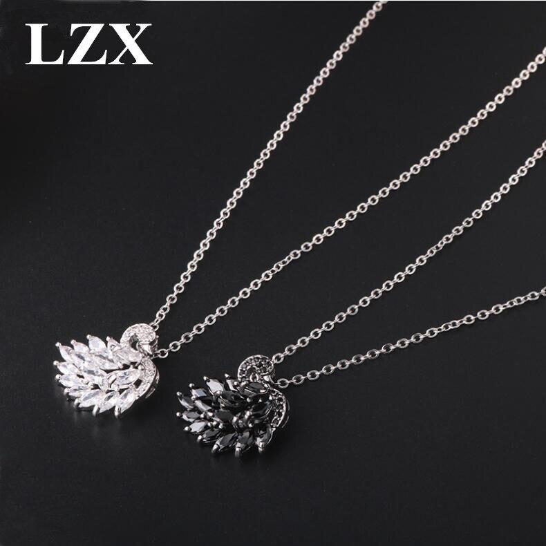 5384b8ad2c68 LZX marca Blanco Negro cristal Cisne declaración gargantilla collar  circonita cúbica piedra collares y colgantes