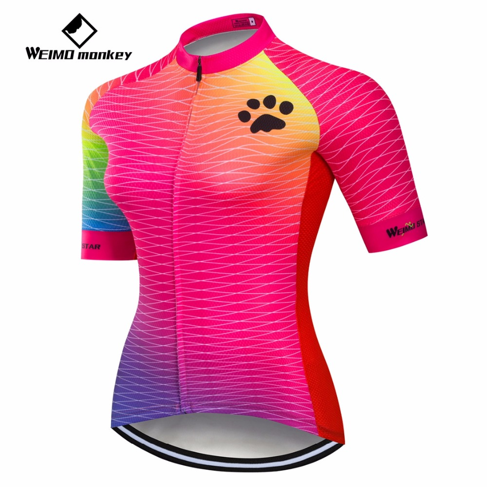 2019 cyclisme Maillot femmes vélo Maillot montagne route vtt haut Maillot respirant chemises manches courtes course équipe Blouse femme rouge