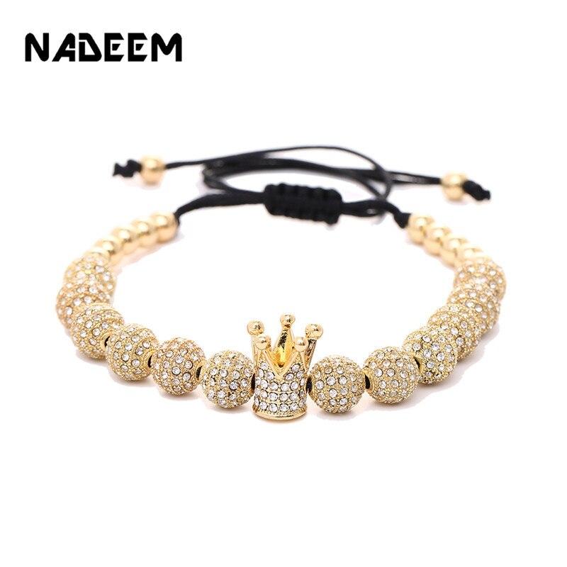 Luxury Men Jewelry 8mm Copper Ball Cubic Micro Pave CZ Crown Charm Bead Braided Macrame Women Bracelet pulseira feminina