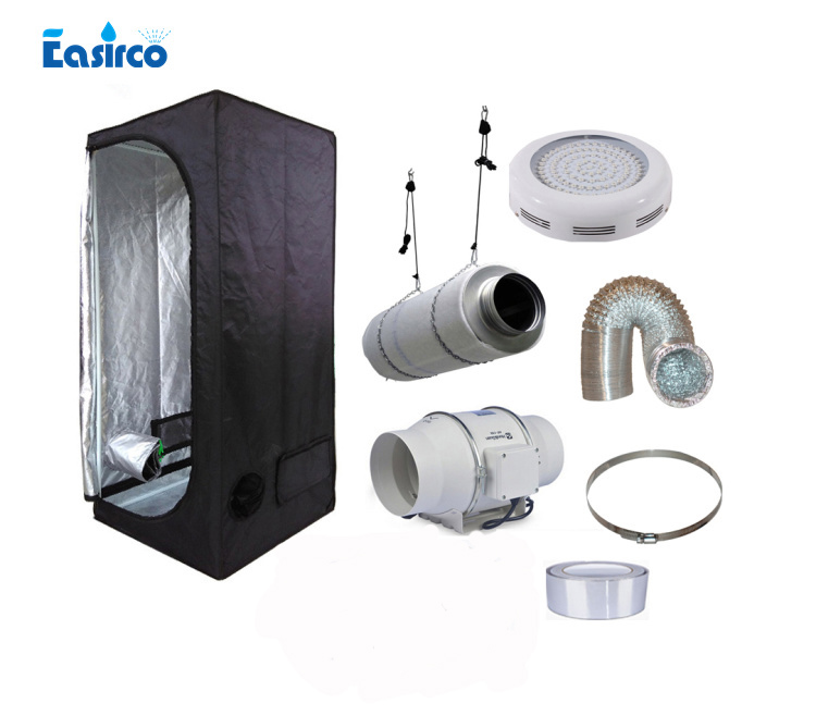 Complete indoor grow tent kits  with 50W LED grow light and ventilation equipment.Size 2'x2'x5'. 60X60X140CM.