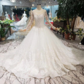 WONDMOND Wedding Dresses Luxurious Ball Gown Lace Appliques Bridal Dresses Scoop Boat Long Sleeves vestido de noiva 2019 New