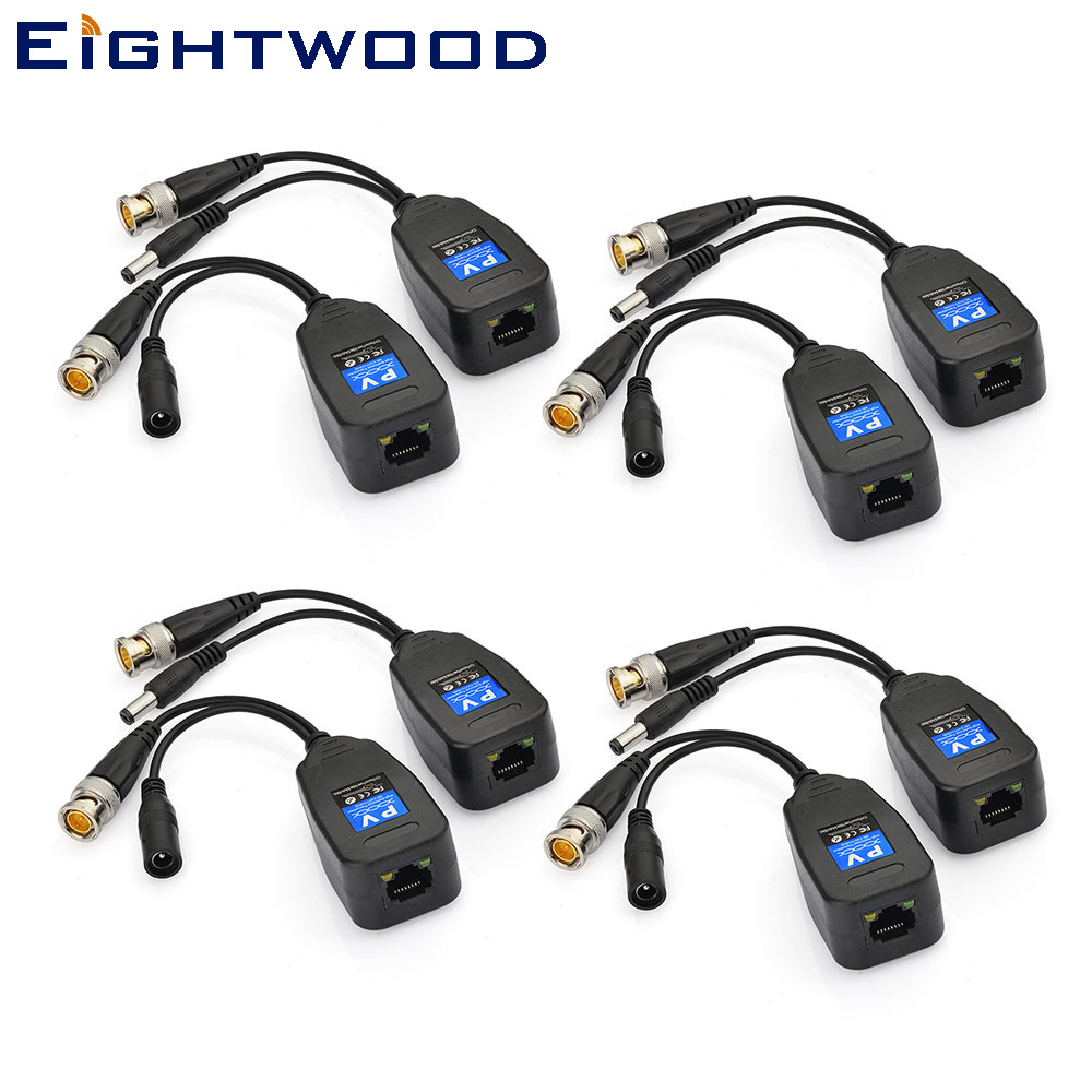 Eightwood 4 Pairs CCTV Coax BNC and DC connector Power Video Balun (HD-SVI/HD-TVI) Transceiver to CAT5e 6 RJ45 Connector
