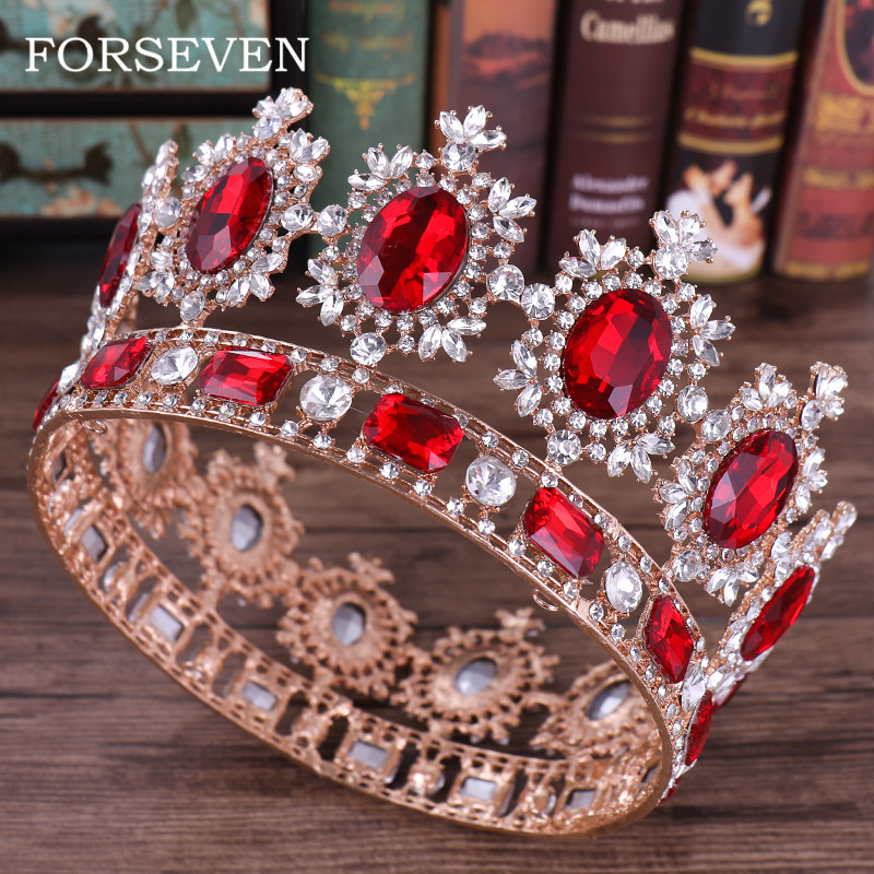 Red Queen Crown Crystal Bridal Tiaras Round Bride Crown Baroque Headband Wedding Accessories Diadem Hair Jewelry Ornament red crystal wedding crown queen tiara bride crown headband bridal accessories diadem mariage hair jewelry ornaments