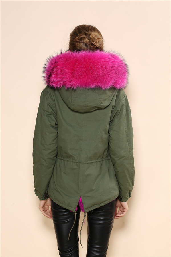 2016 new arrival women winter hot pink faux fur parka coat mr and ...