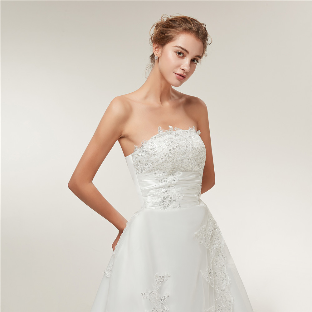 Image 5 - Fansmile Cheap Vintage Lace Long Train Wedding Dresses 2019 Bridal Gowns Vestidos Plus Size Bridal Dress Free Shipping FSM 117T-in Wedding Dresses from Weddings & Events