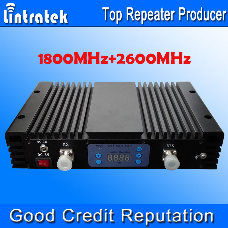 70db AGC MGC LCD Display 4G LTE 2600MHz+1800MHz GSM 4G Dual Band Signal Boosters 1800 2600 Cell Phones Mobile Signal Repeaters