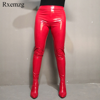 Rxemzg women sexy thigh high boots over the knee chunky high heel pants boots pointed toe ladies pants shoes plus size 35 45 47