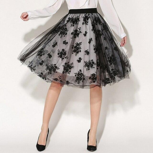 c272313b693e 2017 New Womens Midi Skirts Summer Elegant Temperament Double Layer Tulle  Skirt Knee Length Ladies Embroidery