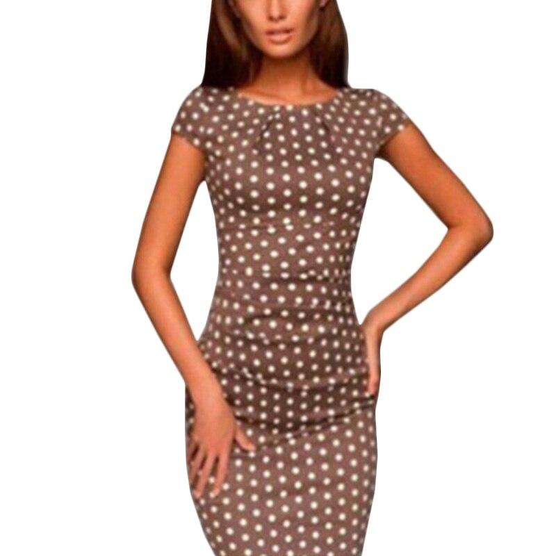 New Women Elegant O-Neck Short Sleeve Polka Dot Print Vintage Casual Work Office Party Bodycon Sheath Pencil Dress