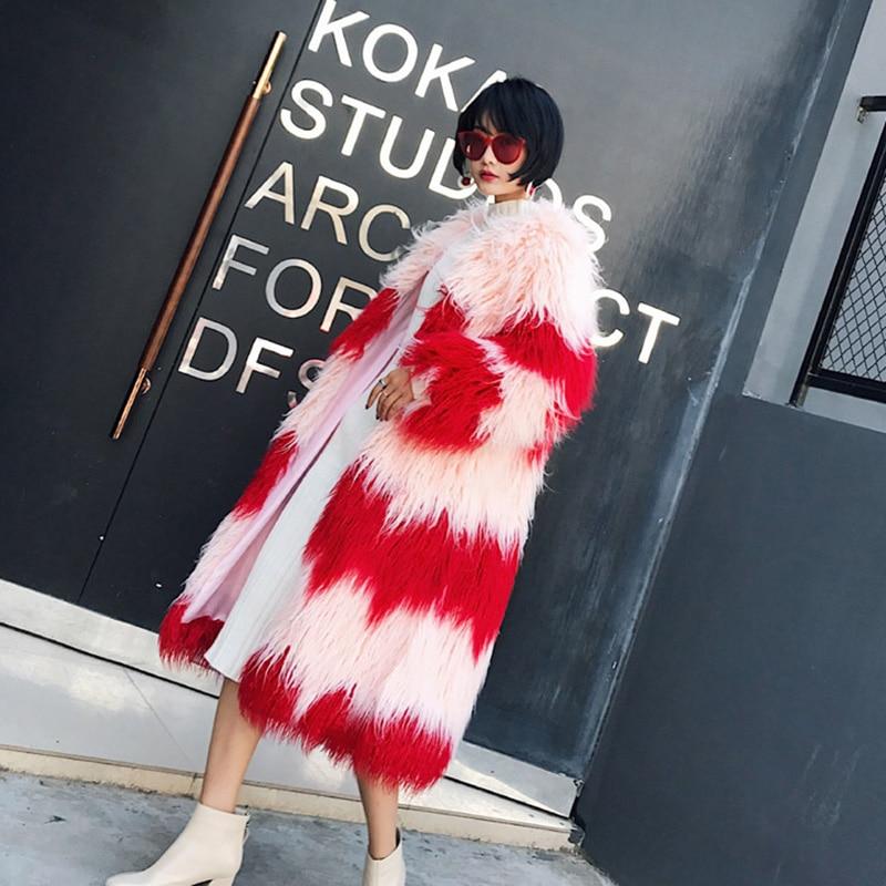 Femmes Patchwork Pardessus Mongolie Flottant Poilu Fourrure Manteau Mouton Cheveux Veste Pink Long De Fantaisie Faux W1569 D'hiver 2018 Imitation TlFc1KJ