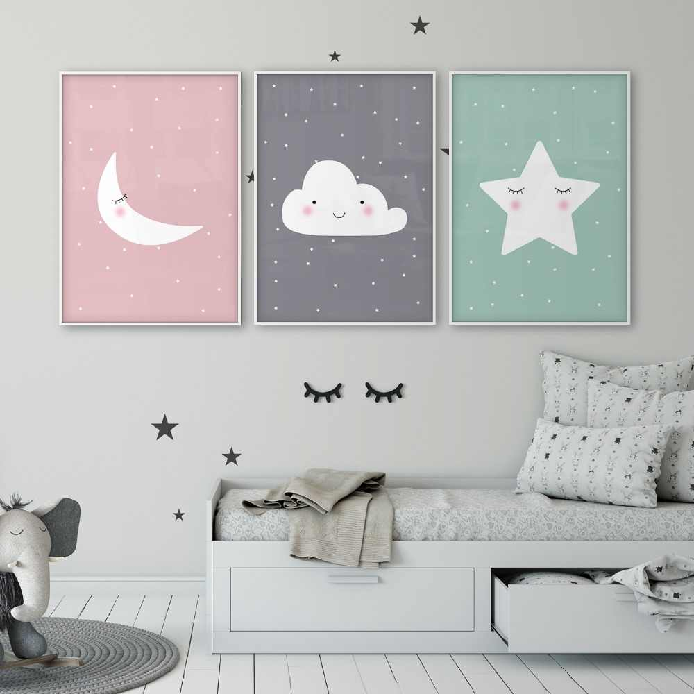 Star Cloud Moon nursery decor Nursery Art Set of 3 Poster Baby room Children's Room Wall art Kids room Canvas Art Mint Gray Pink