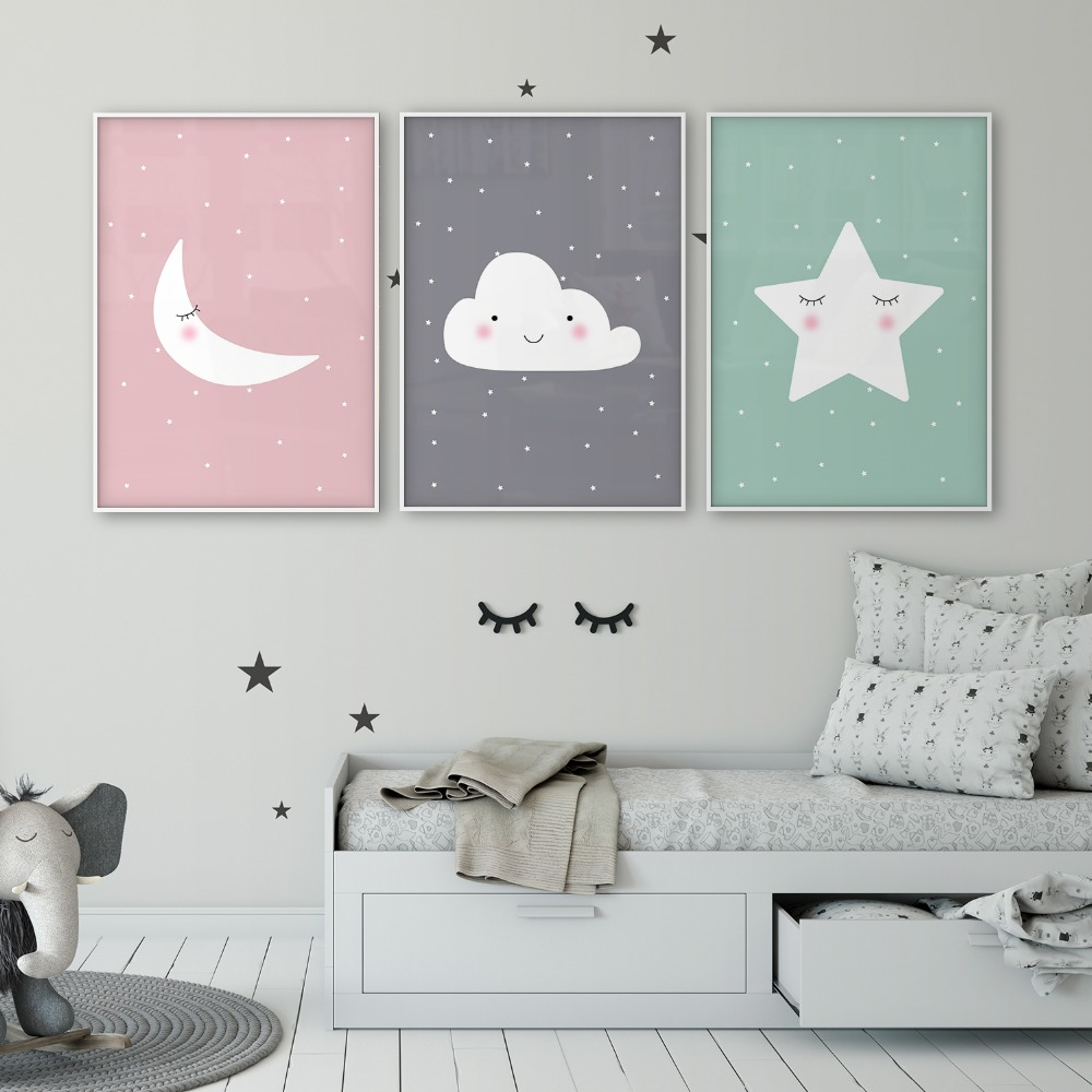 Elephant Twin Nursery Wall Art Nursery Room Decor For Twins: Star Cloud Moon Nursery Decor Nursery Art Set Of 3 Poster