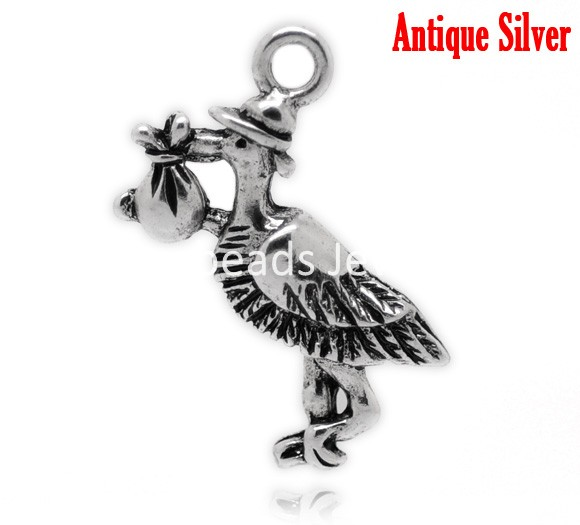 "DoreenBeads Antique Silver Stork Carrying Baby Charm Pendants 26x23mm(1""x7/8""), sold per packet of 30 (B17002), yiwu"
