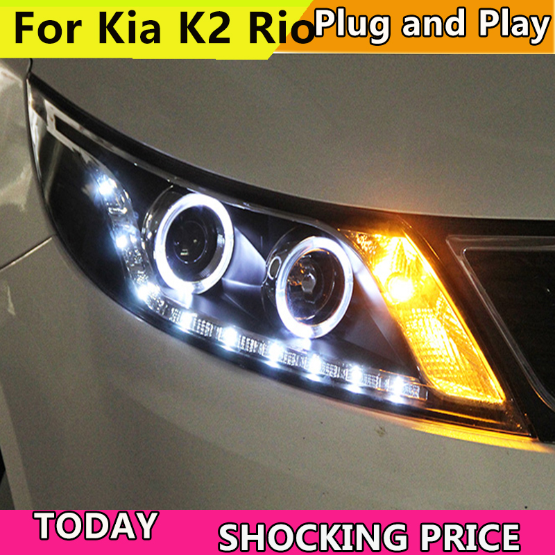 Car Styling Head Lamp Case For Kia Rio Headlights 2011-2014 LED K2 Headlight Daytime Running Light Bi Xenon Lens Xenon Low Beam цены