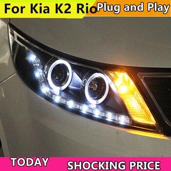 Car Styling Head Lamp Case For Kia Rio Headlights 2011-2014 LED K2 Headlight Daytime Running Light Bi Xenon Lens Xenon Low Beam