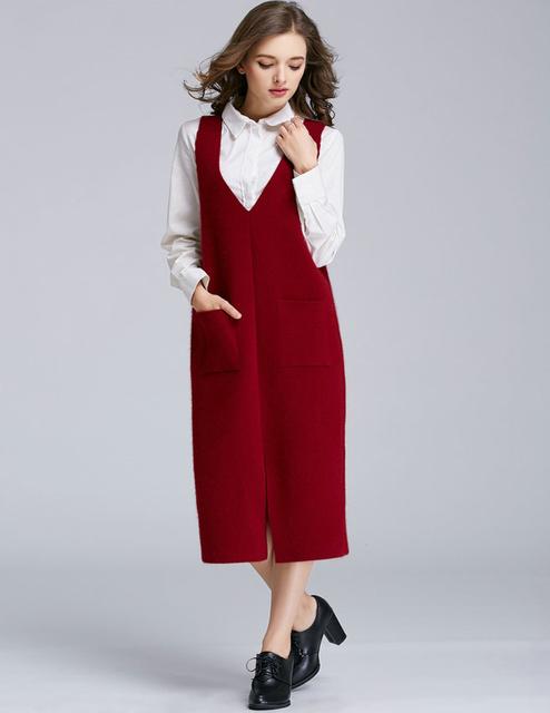 Tejer Suéteres de Cachemira de las mujeres Chaleco Chaleco Otoño Invierno Chalecos Sin Mangas Delgada Camisa Casual Brand Mujer Abrigos Largos