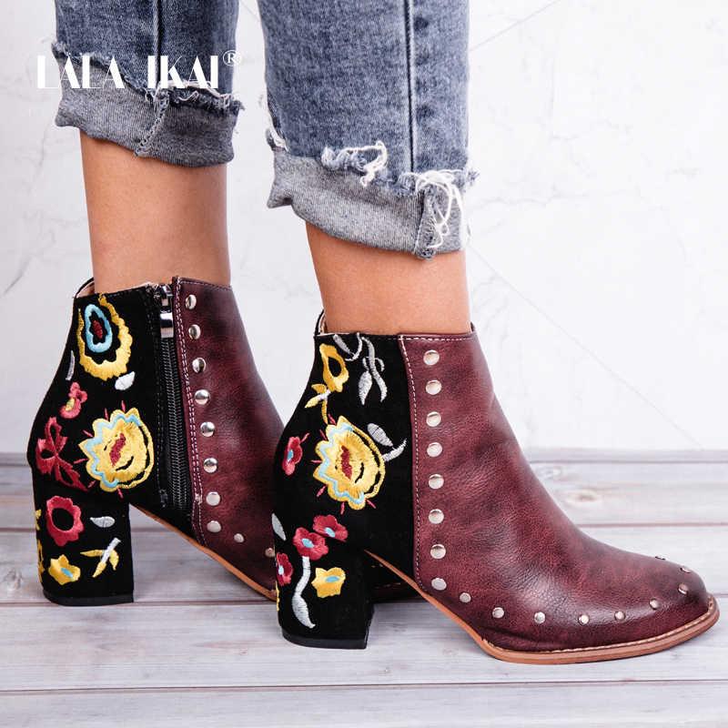LALA IKAI femmes bottines rétro fleur broder troupeau PU cuir cheville chaussures Zipper Rivet 2019 automne hiver bottes XWC2292-4
