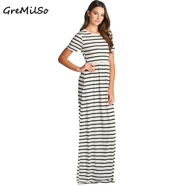 0c9739c7577 GreMilSo Striped Maxi Dress Summer 2017 Short Sleeve O-neck Casual Long  Dress Fashion Women T shirt Dresses Vestidos Mujer XXL