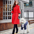 Original 2016 Brand Jacket Autumn Winter Plus Size Double Breasted Casual Fashion Belt Slim Waist Red Long Coat Female Wholesale