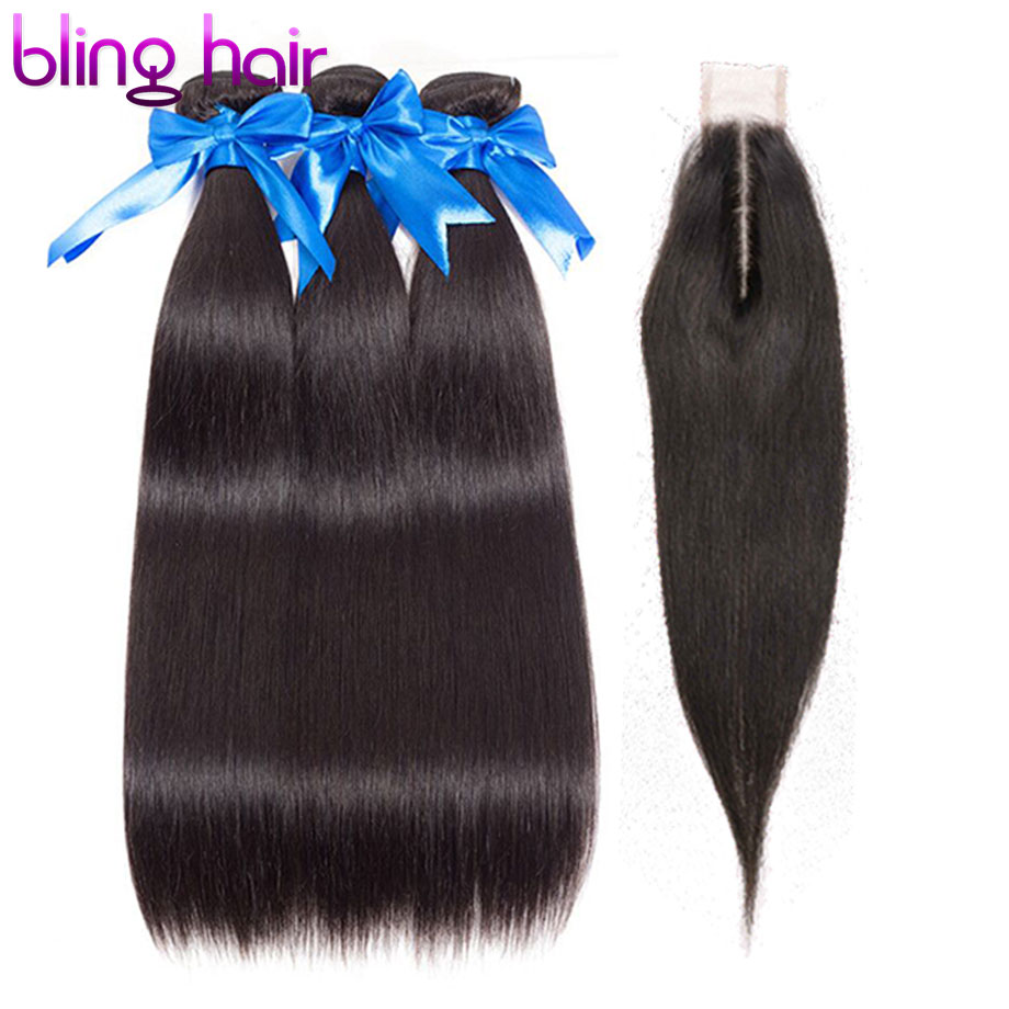 bling hair Straight Hair Bundles With Closure Brazilian Hair Weave Bundles With Closure 2 6 Middle