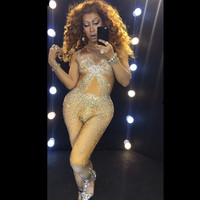 Stage Fireworks Crystal Jumpsuit Sexy Nightclub Leotard One piece Rhinestone Bodysuit Singers Dj Gogo Performance Clothing