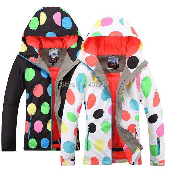 2017 hot polka dots ski jacket women snowboarding skating climbing riding skiing jacket skiwear waterproof 10K breathable warm 2016 women ski jacket color matching snowboarding jacket skiing jacket for women skiwear suit waterproof breathable
